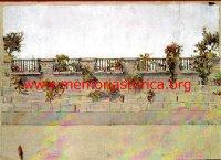GIUSEPPE UGONIA (1881-1994) La terrazza di casa Ceroni (acquarello su carta)