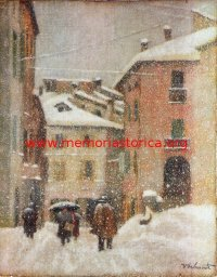 DOMENICO DALMONTE (1915-1990) Nevicata nel paese (olio su tela, 1956)