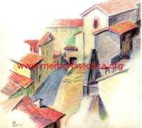 LUIGI PARINI (1889-1971) Studio di composizione con motivo paesaggistico. La piazzetta di S.Francesco (matita colorata, anni 60)